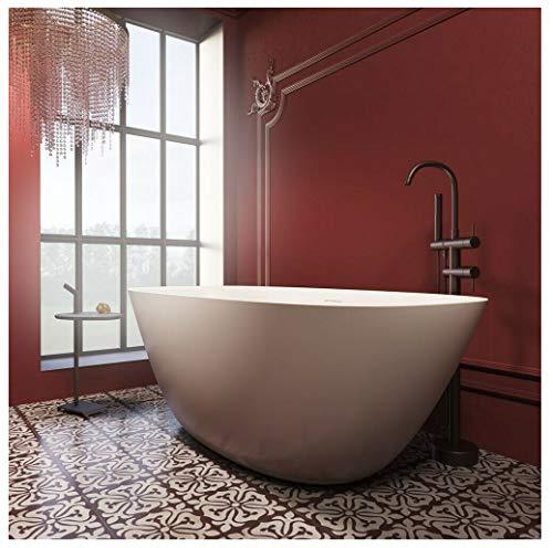 Naka24 freistehende Badewanne aus Mineralguss 170x82x60 cm weiss Design SETTE