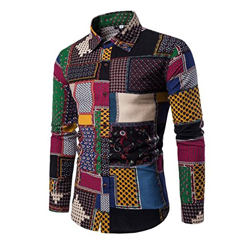 Allthemen Mens Dress Shirts Long Sleeve Funky Printed Linen Shirt Casual...