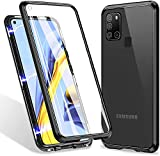 360° Full Body Case for Samsung Galaxy A21S Case, Magnetic Adsorption Metal Cover with Built-in Screen Protector【9H Clear Anti-Scratch Strong Tempered Glass】,Alloy Bumper Protection (Black)