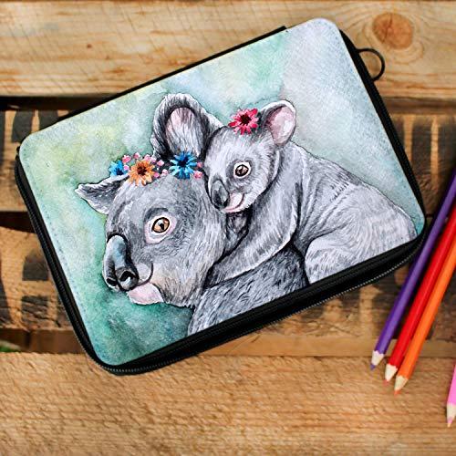 ilka parey wandtattoo-welt Gefüllte Federtasche Federmappe individuelles Federmäppchen Koalas und Name Wunschname fm138