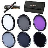 40.5mm Packs de Filtro Fotográfico - K&F Concept Filtro polarizador Filtro Ultravioleta UV CPL FLD, ND2+ND4+ND8 Filtro de Densidad Nuetra para Canon Nikon DSLR Cámaras + Pluma de Limpieza + Estuche para 6 filtros