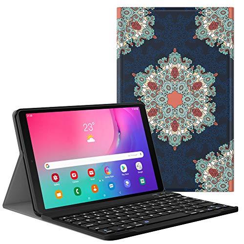 Dadanism Tastatur Hülle für Galaxy Tab A 10.1 Inch SM-T510 SM-T515 2019, Schlank Ständer Schutzhülle mit Magnetisch Abnehmbar Bluetooth Tastatur, PU Leder Keyboard Hülle - Kreisförmiges Muster