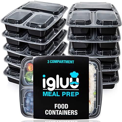 Contenedores De Comida Con 3 Compartimientos (Set de 10) - Plásticos, Reutilizables, Sin BPA, Cierre Hermético - Para Lavavajillas, Congelar, Microondas - Recipientes De Alimentos Bento Apilables