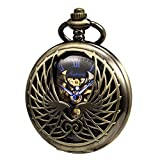 TREEWETO Men's Women's Pocket Watch Mechanical Skeleton Eagle Wings Double Hollow Case Roman Numeral with Chain Box