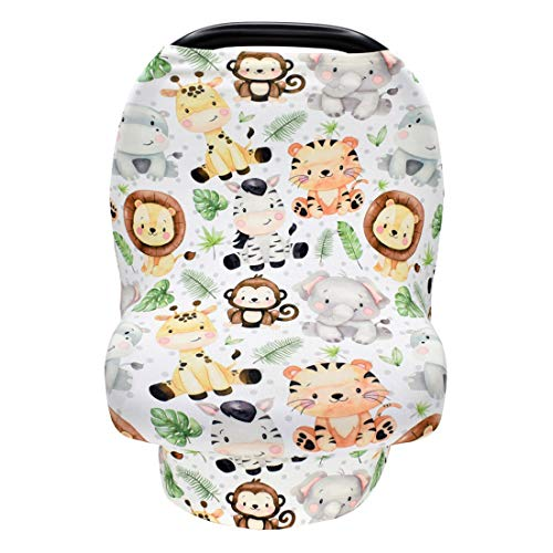 Terriboo Nursing Cover for Newborn Breastfeeding Multi Use Infant Stroller Canopy Unisex Baby Car Seat Cover High Chair Cover Shopping Cart Cover for Baby Boy and Girl (Zoo)