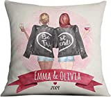 Amazing Items Custom Best Friend Pillowcase - Choose Hair & Skin Color Personalized Friendship Pillow Cover 16x16