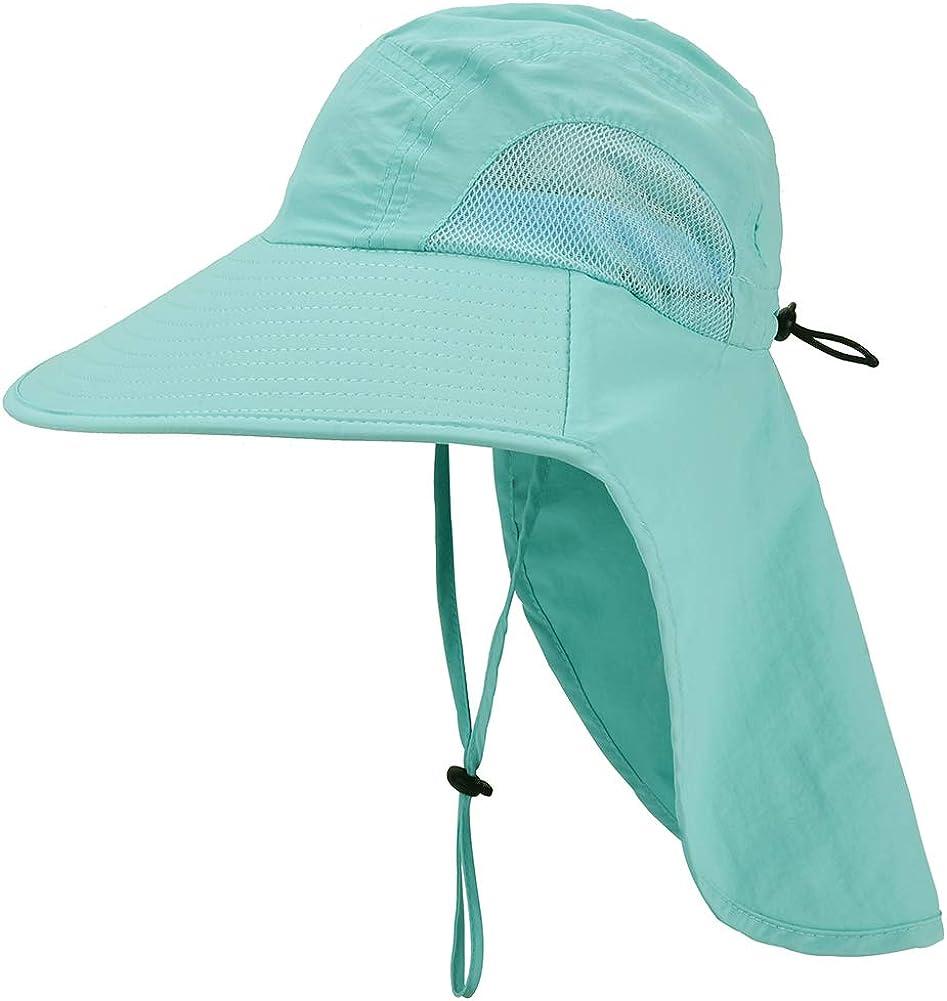 Kids Sun Hat with Neck Flap - Unisex Adjustable Children Wide Brim Summer UPF50+ Sun Protection Mesh Bucket for 4-12y