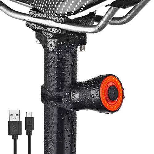 runhua Luz Bicicleta Trasera Inteligente, Luz Trasera Bicicleta USB, Luz para Bicicleta, Luz Led Bicicleta IPX6, Luces para Bicicleta, Luces Bicicleta Trasera para Seguridad de Ciclismo