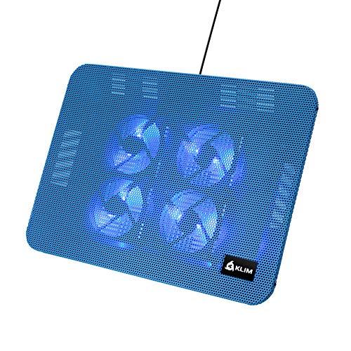 KLIM Serenity + Laptop-Kühler + 11 bis 15,6 Zoll + Perfekt für kleine und mittlere Laptops + Stabiles und Robustes Metallgitter + Geräuschloses Laptop-Kühlpad + NEU 2021 (Blau)