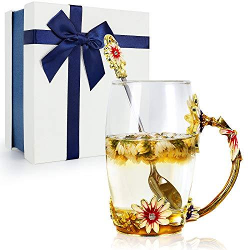 STRMZD Taza de té de flores, Taza transparente de esmalte sin plomo,...