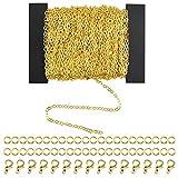 HQdeal 39.4 Pies 2 * 3mm Collar de Cadena de Enlace con 30 Anillas Abierta y 20 Piezas de Cierres de Langosta para Fabricación de Joyería DIY, Plateado y Dorado (Dorado)