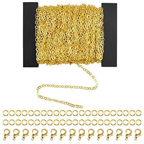 Dokpav 39.4 Pies DIY Cadena Collar para Fabricación de Joyería DIY, 2 * 3mm, con 30 Anillas Abierta y 20 Piezas de Cierres de Langosta, Plateado y Dorado (Dorado)