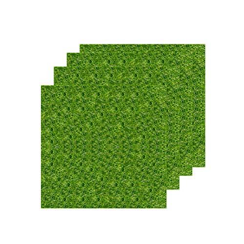 vorcool Jardin miniature 4 pc gazon artificiel ornement gazon synthétique 15 x 15 cm simulation herbe gazon DIY Maison de Poupée ornement de jardin (Vert)