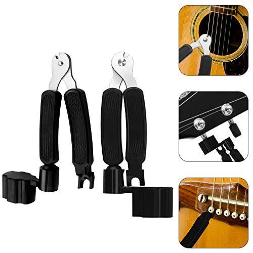 Huayue 2 Stück Profi Gitarren Saitenkurbel 3 in 1 Gitarre String winder mit Saitenkurbel Saitenschneider Saiten-Pin-Abzieher Repair Tool für Westerngitarre Akustikgitarre Konzertgitarre E-Gitarre Bass
