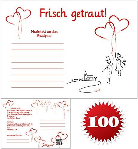 galleryy.net 100 Ballonflugkarten zur Hochzeit GELOCHT - Flugkarten für Hochzeitsballons im Set zum Hochzeitsspiel im Ballonflugkartenset - Hochzeit Luftballon-Hochzeitspaar