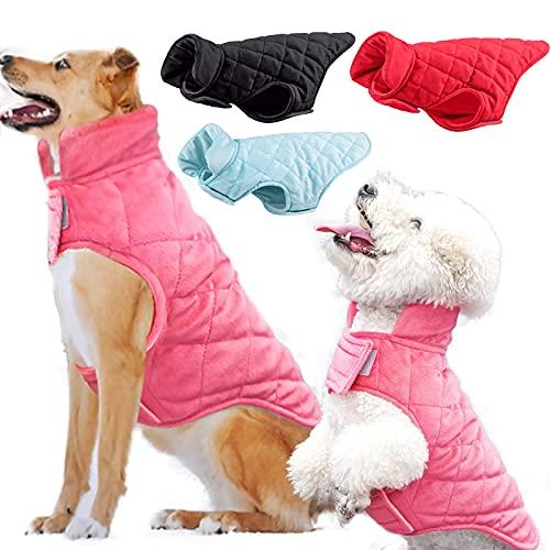 Giacca cappotto per cani Etechydra, gilet invernale caldo per cani, abbigliamento per cani foderato in cotone, vestiti per cani antivento con colletto in pile, pullover leggero, Rosa - M