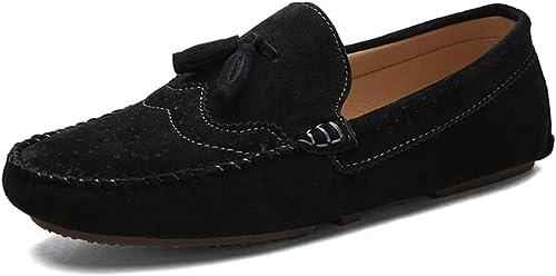 BBTK Moda al Aire Libre Oxford zapatos For Men Zapaños Formales Slip On Style OX Low Low Round Toe (Color   negro, Tamaño   42 EU)