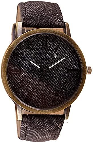 ZFAYFMA Relojes masculinos, Relojes vintage, Correa de cuero vaquero, Relojes de cuarzo analógicos, Relojes baratos casuales de negocios, Replicas deportivas de lujo, Relojes deportivos, marrón