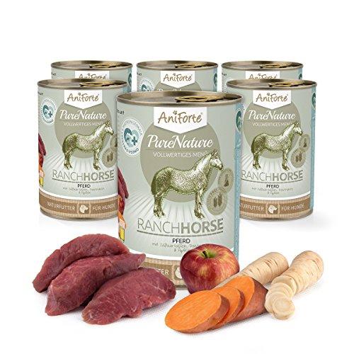 AniForte Hundefutter Nass RanchHorse 6 x 400g – Nassfutter für Hunde, Frisches Pferd, Gemüse & Früchte, hoher Fleischanteil, Natürliches Hundenassfutter mit Extra viel Fleisch, getreidefrei