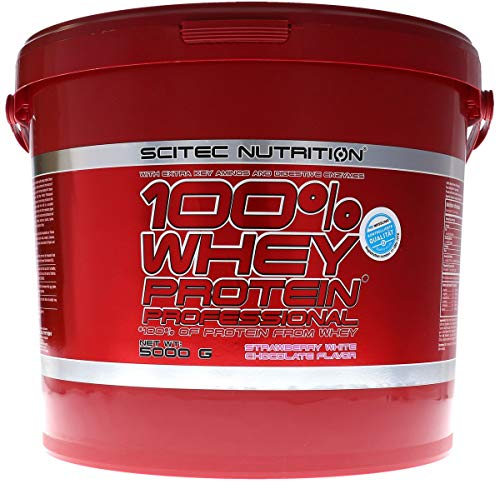 Scitec Nutrition 100{e5f3260c2b693d29daa19e6b0dd9954343be18416ab26298abf24a6056e80e16} Whey Protein Professional 5000g Erdbeere Weiße Schokolade Top-energy24 Spezialangebot