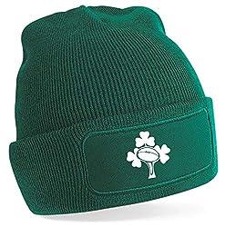 Ireland Rugby Beanie Hat Green 100% soft touch acrylic Cuffed design.
