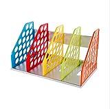 DIY Detachable Colored 4 Divider Section Magazine File Holder Frame Tray Shelf Lever Arch File Folders Storage Rack Sturdy Display Stand Desktop Book Ends CD Dictionary Holder