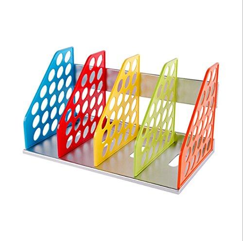 Organizer per riviste e cartelle, 4 sezioni, design curvo, resistente, da assemblare, colorato, per libri, CD e dizionari