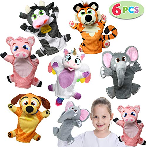JOYIN Toy Animal Friends Deluxe Hand Puppets 6 Pack for Imaginative Play, Stocking