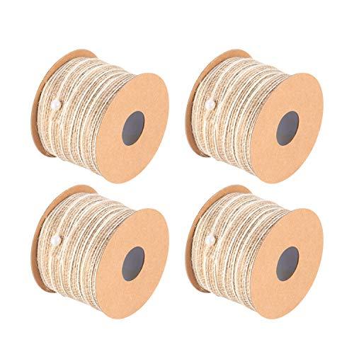 Lot de 4 rouleaux de ruban en toile de jute naturelle pour loisirs créatifs, emballage cadeau, décoration de mariage (5 mm × 10 m)
