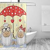 MONTOJ Duschvorhang mit Schaf- & Regenschirm, 178 cm, strapazierfähig & super wasserdicht, 1 Panel, 152,4 x 182,9 cm