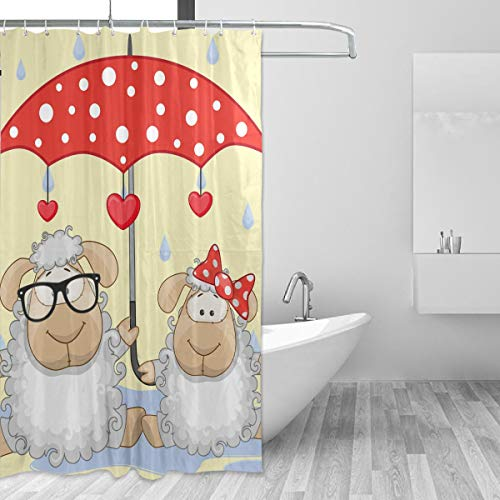 MONTOJ Schaf & Regenschirm Home Decor Duschvorhang Badvorhang Stoff Badezimmer Dekor Set mit Haken 177,8 cm langlebig & super wasserdicht 1 Panel 152,4 x 182,9 cm
