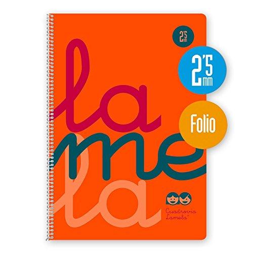 Cuaderno Espiral Fluor Lamela Fº 80 Hojas 90 gr. Cuadrovía 2,5mm. (Naranja)