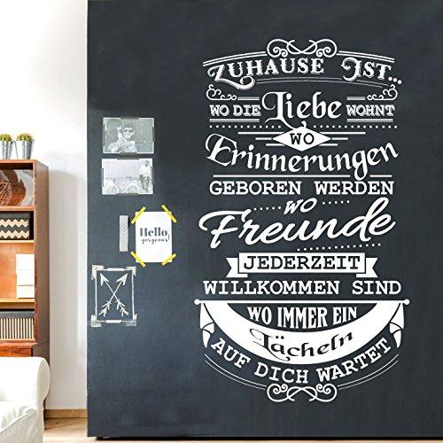 Wandaro Wandtattoo Spruch Zuhause ist wo die Liebe wohnt I schwarz (BxH) 53 x 90 cm I Wohnzimmer Wandsticker Wandaufkleber Aufkleber Zitat Flur Sticker W3433