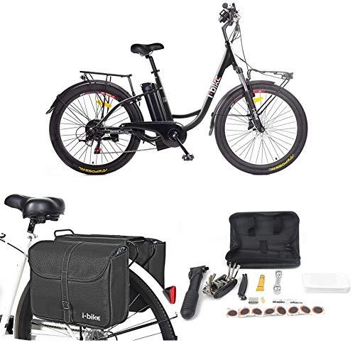 i-Bike City Easy S ITA99, Bicicletta elettrica a pedalata assistita Unisex Adulto, Nero, 46 cm + Borse da Trasporto + Kit Riparazione + Supporto Universale per Smartphone