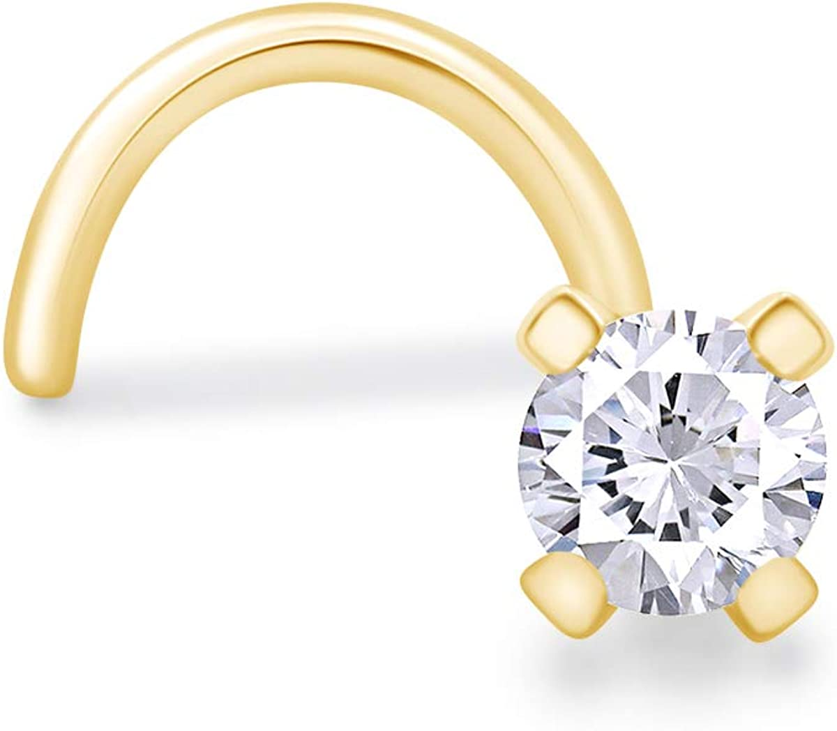 14K Solid Gold 22G Nose Stud Ring Jewelry 1.5 Zirconia High order 2 Cubic 1 Cheap SALE Start