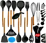 27 pcs Silicone Kitchen Utensil Set-Kitchen Utensils with Wooden Handle and Holder. Save your pots by upgrading your plastic or stainless steel cooking utensils to Soft Silicone Utensils-(Grey)