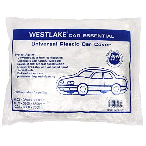 West Lake Car Essential Universal Disposable Clear Plastic Car Cover Shield Rain Snow Hail Dust Garage Great for SUV, Sedan, Sport Cars, Antique Cars, etc.