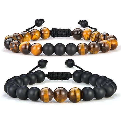 Tiger Eye Mens Bracelet - 8mm Natural Tiger Eye Bracelet Mens Anxiety Bracelet, Stress Relief Adjustable Tiger Eye Bracelet Matte Agate Bracelet Dad Gifts Fathers Gifts Boyfriend Gifts