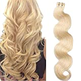 Smartinnov Curly Human Hair Extensions #613 Blonde Body Wave Tape in Hair Extensions Long Wavy 24inches Soft Silky Seamless Wavy Tape Hair 70grams 20pcs/pack Glue in Extensions