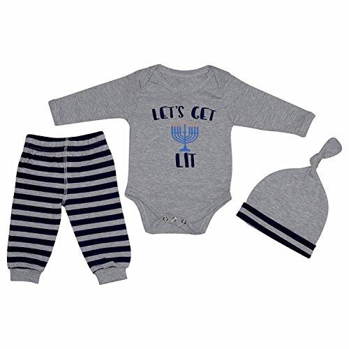 Unique Baby Boys Lets Get Lit Hanukkah Layette Set with Cap (18 Months) Grey