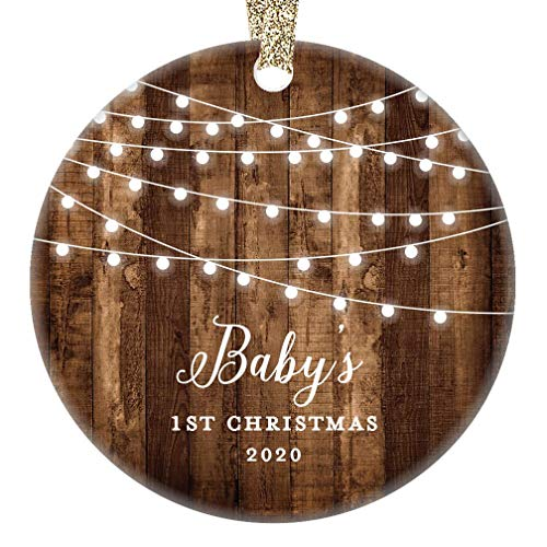 Rustic Baby's First Christmas Ornament 2020 First Year Little Sister New Baby In Family Daughter 1st Xmas Dated Farmhouse Collectible Present 3' Flat Circle Porcelain w/Gold Ribbon & Free Gift Box