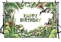 新しい恐竜をテーマにした写真スタジオの背景サファリジャングル緑の葉子供子供の誕生日パーティーの装飾バナー写真撮影用背景7x5ft