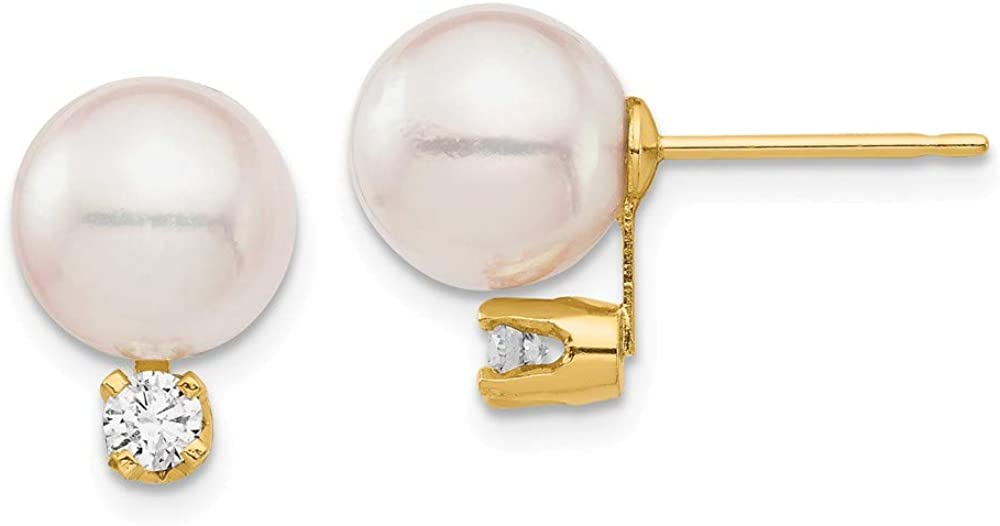 14K Yellow Gold 8-9mm White Round Saltwater Akoya Cultured Pearl Diamond Post Ball Earrings