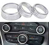 3pcs Audio Air Conditioner Switch CD Button Knob Cover Decoration Twist Switch Ring Trim fit for 2015-2020 Dodge Challenger Charger Durango,Chrysler 300 300s (Silver)