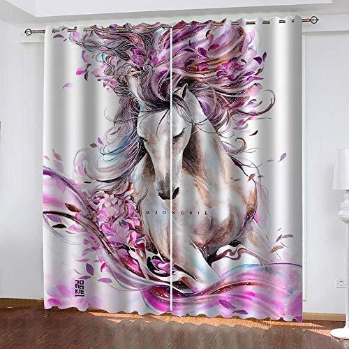 XFHHXFY Cortinas Opacas Caballo De Flores 183x214 cm con Ojales para Salón Habitación Dormitorio Moderno Decoración Cortinas 2 Piezas