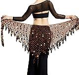 Aivtalk Girls Belly Dance Coins Belt Sexy Mesh Dancing Wrap Skirts Plus Size Halloween Costume Accessories Brown