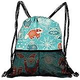 Drawstring Backpack Cooler Backpacks Front Zipper Mesh Bag For Women Men Travel Fitness Christmas Yeti Lovely Deer Snowman Badger Raccoon Owls Customized
