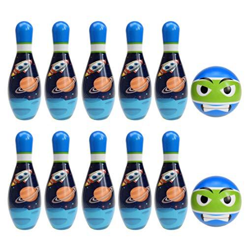 CLISPEED Bowling Set Spaß Indoor Outdoor Familienspiele Bowling Spiele Lernspielzeug für Kleinkinder Kleinkinder Vorschule Raum Planet Stil