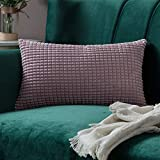 MIULEE 1 Stück Cord Weiches Massiv Dekorativen Quadratisch Überwurf Kissenbezüge Kissen für Sofa Schlafzimmer Auto 12'x20', 30 x 50 cm Rosa Lila