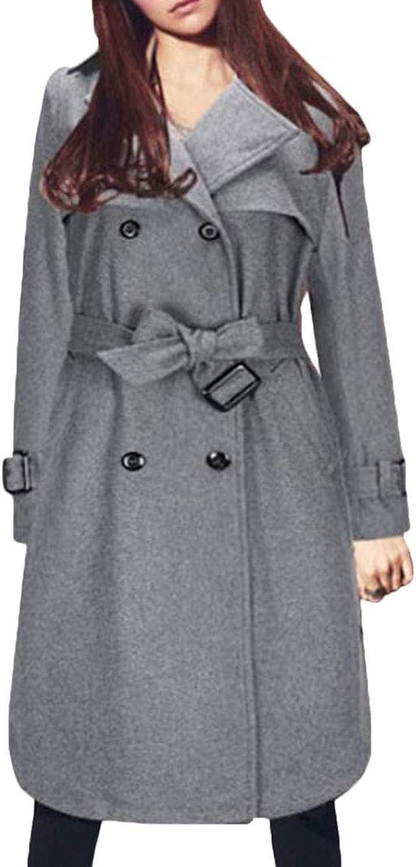 Gocgt Women's Winter Double Breasted Wool Blend Long Pea Coat Jackets Outwear
